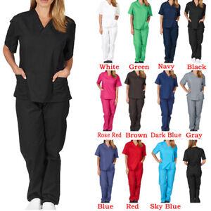 Mens Womens 2 Pce Suit Hospital Medical Doctor Nurse Scrubs Tunic Work Uniform S