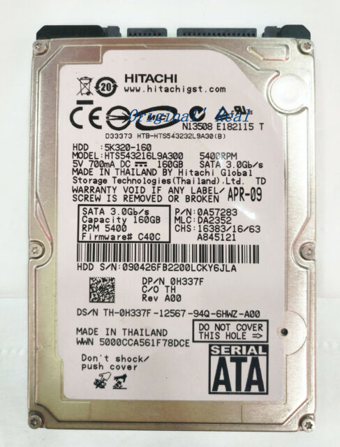 Hitachi Travelstar 5K320-160 HTS543216L9A300 160GB 5400RPM SATA notebook HDD
