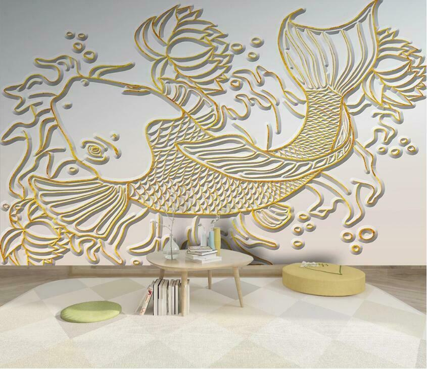 3D Golden Squid N3111 Wallpaper Wall Mural Removable Self-adhesive Sticker Amy