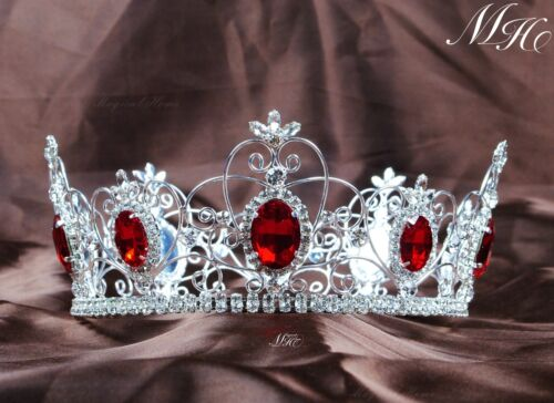 "Simulated Red Ruby Crown Pageant 3.5/"" Full Circle Tiara Rhinestone Crystal Party"