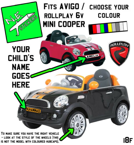 FRONT kids number plate for Rollplay ELECTRIC 6v MINI Cooper COUPE car +back?