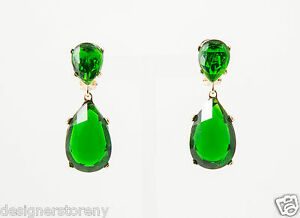 Image Is Loading Kenneth Jay Lane Faux Emerald Pierce Earrings Gold