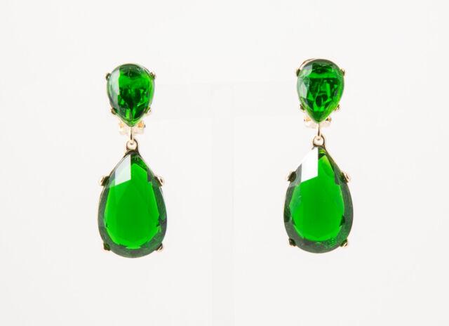 Kenneth Jay Lane faux Emerald Pierce Earrings Gold Platted 1921EGFEP