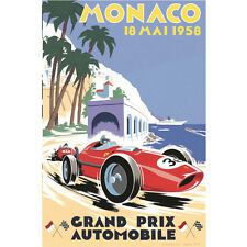 Hot Vintage 1936 Monaco Grand Prix Motor Racing Silk Poster 13x20 24x36 inches