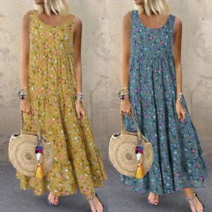 Women-PlusSize-Summer-Casual-Sleeveless-Boho-Retro-Linen-Blend-Floral-Midi-Dress