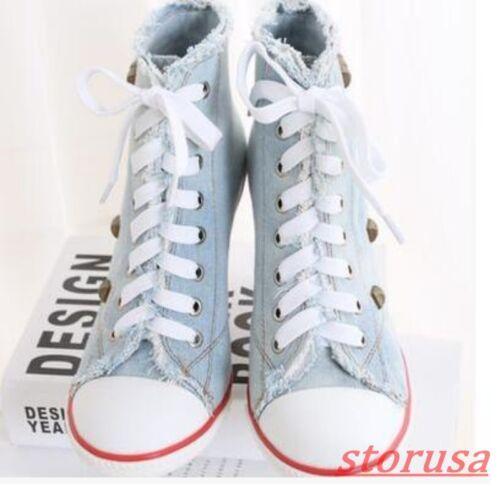 Ladies Rivet Denim Stiletto High Heels Lace Up Sneakers Hig Top Pump Shoes Size