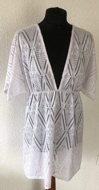 JORDAN TAYLOR Tunika Bluse Strand Kleid XL Weiß Loch- Stickerei