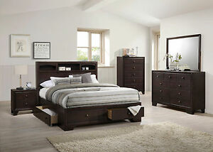 Details about Modern Family Rest Bedroom 4pc Set Queen Size Bed Shelf HB  Mirror Dresser NS