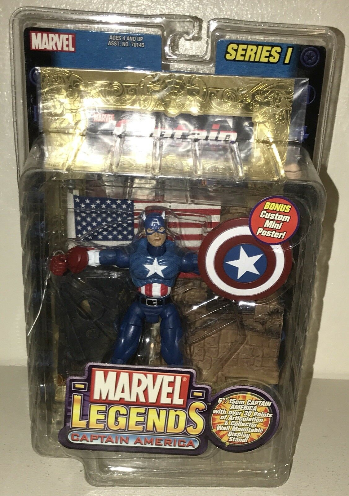 New Marvel Legends Series 1 Capt America Figure Toy Biz w Mini BONUS Foil Poster
