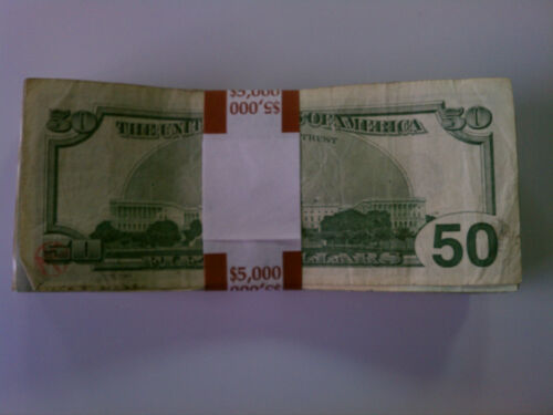 $5000 Denomination New Self-Sealing Currency Bands 200 Straps Money Fifty
