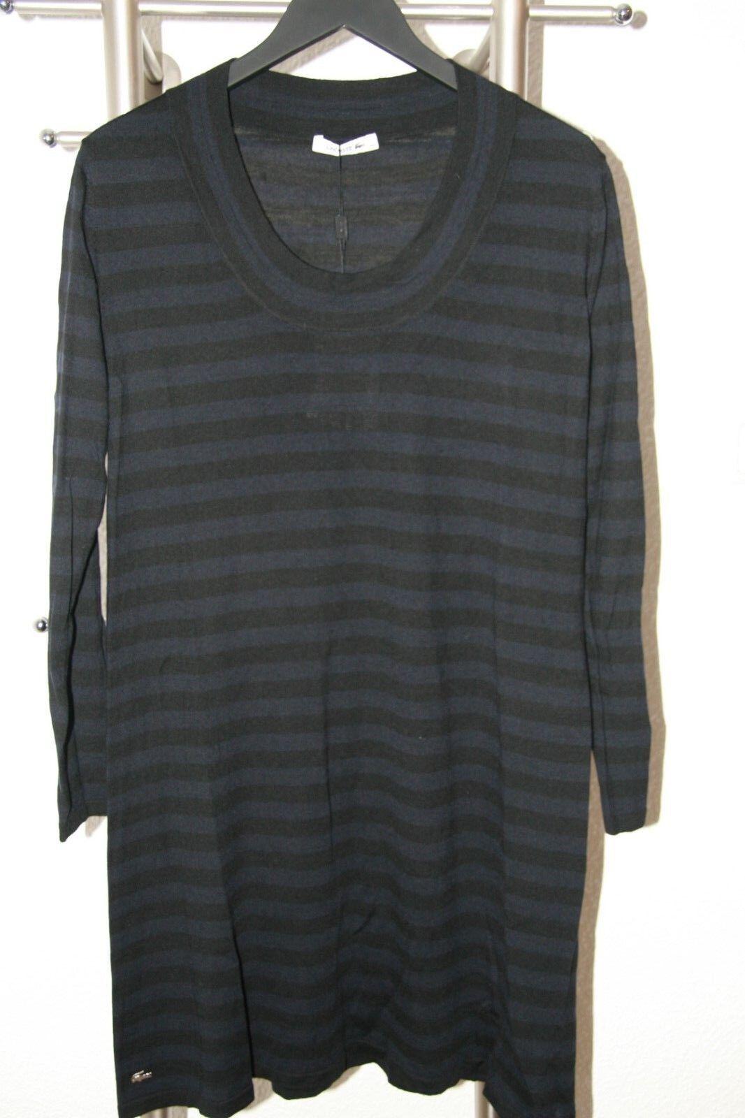 Lacoste Damen Kleid 42 - 44 blau - schwarz blau gestreift 100% Wolle NEU