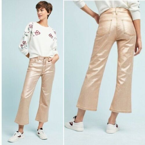 Pilcro 27 Coated High Flare Anthropologie Jeans Cropped Rose Gold Nwt 4Bzx5qRw