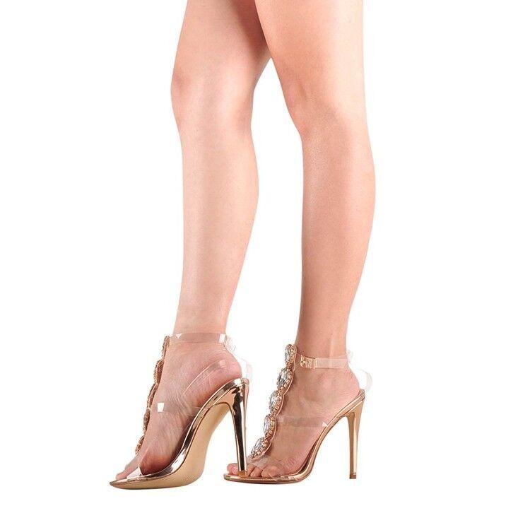 Sandalias de Mujer con Estrás Stiletto Transparente Dorado Hebilla De Tobillo Tacones Altos