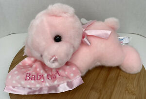 Aurora Baby Girl Musical Plush Wind-up Play Lullaby Pink Bear Sleeping 12""