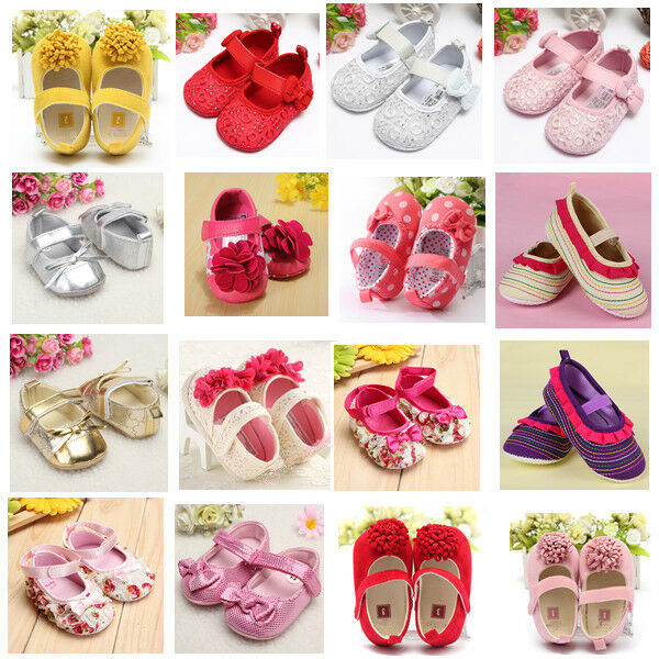 New Baby Girls Mary Janes Bow Flower Toddler Infant Bowknot Soft Sole Crib Shoes