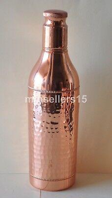 Pure Copper Handmade Hammered Water Bottle 1000 ml 1L Storage Health Energize
