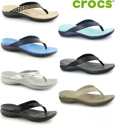 14fdea024061 Crocs CAPRI V Ladies Womens Croslite Leather Strap Relaxed Fit Summer Flip  Flops