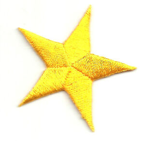SET-OF-FOUR-4-2-3-8-034-YELLOW-EMBROIDERED-STARS-IRON-ON-PATCHES