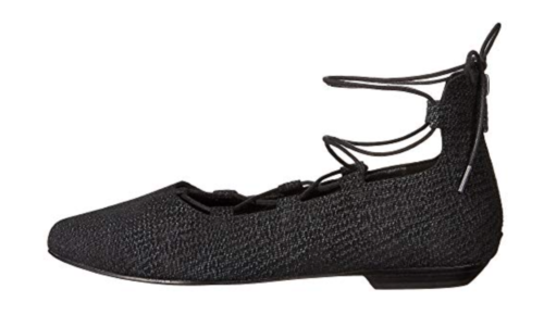 NEW- Eileen Eileen Eileen Fisher SZ 7 Black Suede Leather Loop 2 Lace-Up Ballet Flats shoes dc00d5