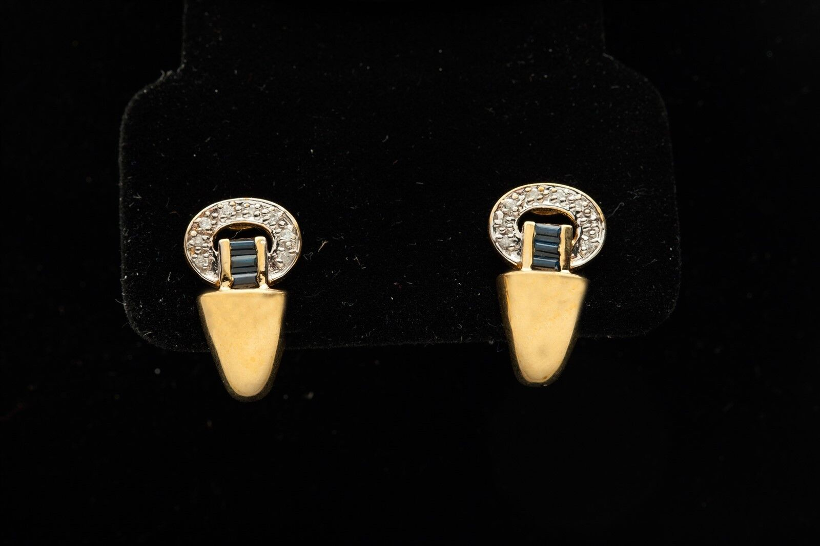 Estate  1500 1ct Baguette bluee Sapphire Diamond 14k gold DANGLE Earrings