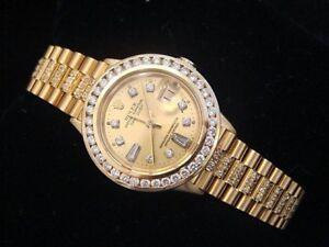 Damen Rolex 18k Gelbgold Datejust Prasident Uhr Diamant Ehering