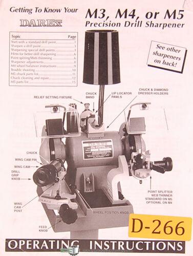 Darex M3 M4 M5 Operator Instruction and Parts Manual Precision Drill Sharpener