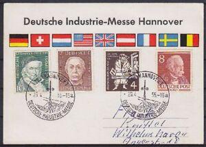 Bund-Mi-Nr-204-198-200-Berlin-94-mit-SST-Hannover-1955-auf-Messe-Karte