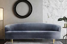 Mitchell Gold Vera Replica Sofa Curved Mid Century Modern Regency Gray Velvet