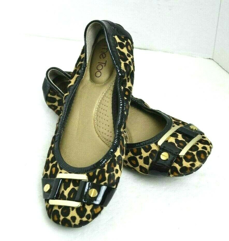 ME TOO ANIMAL PRINT FUR Genuine Leather Womens shoes  Flat BALLET Size 6.5 M