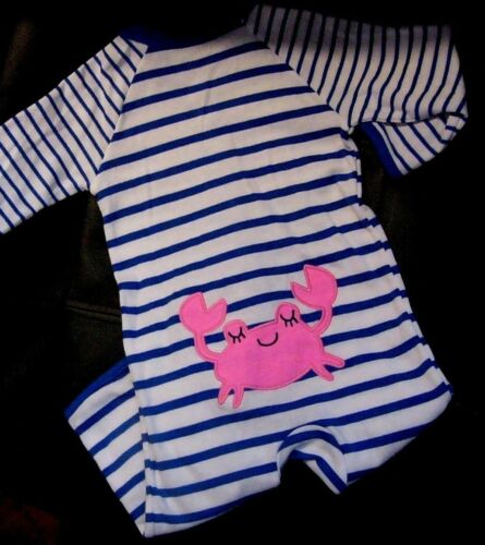 CARTER/'S BABY GIRL 1PC PINK CRAB FOOTLESS COVERALL ROMPER JUMPER NB 3M 6M 9M