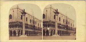 Venezia-Palais-Dei-Doge-Ducale-Italia-Stereo-Vintage-Albumina-Ca-1860