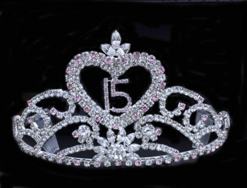 """Crystal Rhinestones Sweet 15 Quinceanera w//Combs.Gold Plated Tiara.3.25/"""" Tall"""