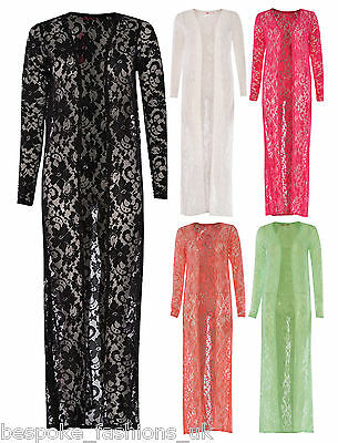 New Ladies Womens Long Length Floral Lace Maxi Open Cardigan Long Sleeve SM & ML