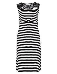 per-una-M-amp-S-marine-et-blanc-rayure-elastique-Pull-over-Robe-droite-lacets-NEUF-8