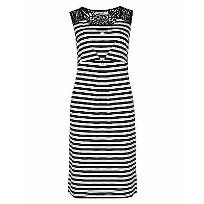 Per Una M&S navy and white stripe stretchy jersey shift dress  lace NEW 8 - 24