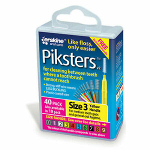 Piksters Interdental Brushes, Size 3, Yellow - 40 Pack