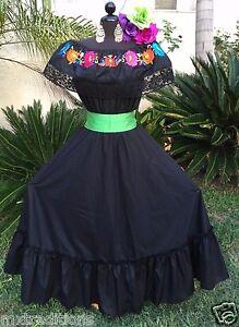 Details About Mexican Dress Fiesta5 De Mayoday Of The Dead 2 Piecevestido Fiesta Mexicana