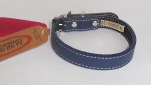 Auburn-Leathercrafters-Blue-Leather-Dog-Pet-Collar-11-034-14-034-New