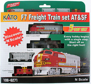 kato 1066271 n scale f 7 freight train set at sf 5 car set starter series new ebay. Black Bedroom Furniture Sets. Home Design Ideas