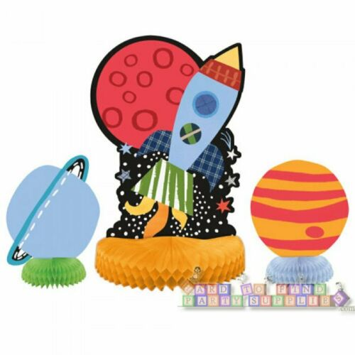 ~ Party Supplies HAPPY BIRTHDAY Outer Space HONEYCOMB CENTERPIECE SET 3pc