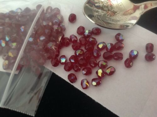 4mm Czech Glass Faceted Fire Polished Beads . Berry Red AB. 51582....9g