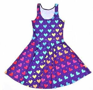 Kawaii-Video-Game-Cute-Purple-Rainbow-Heart-Skater-Dress-S-M-L-XL-2XL-3XL-4XL
