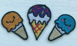 Ice-Cream-Cone-Cute-Set-Iron-Sew-On-Embriodered-Patch-1494