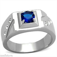 6 Mm Montana Blue Stone Silver Stainless Steel Mens Ring