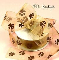Chocolate Brown Paw Print 5/8w X 5yds Brown Sheer Monofilament Edge Ribbon