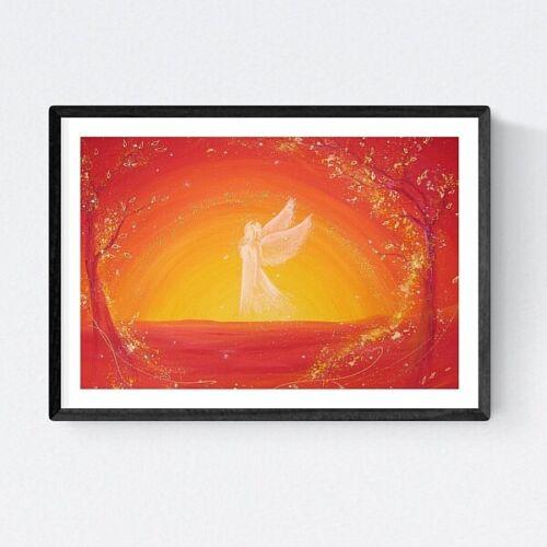 """/""""Immer ein Licht/"""" Wanddeko Tischdeko in Rot Gelb Weiß Engelbild Kunstfoto"""