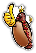"Hot Dog King Cartoon Car Bumper Sticker Decal 3"" x 5"""