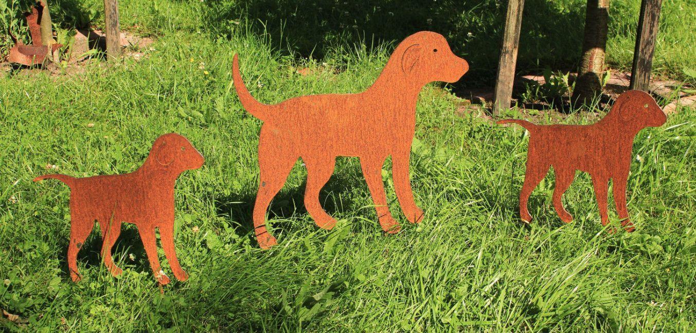 Edel óxido perros familia perro Hufu animal escultura óxido gartendeko noble arte de metal