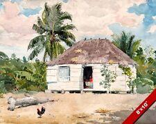 NATIVE HUT OF NASSAU BAHAMAS WINSLOW HOMER PAINTING ART REAL CANVAS GICLEEPRINT