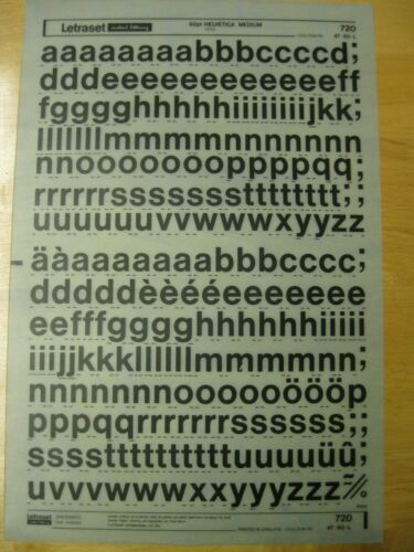 1 x Letraset Lower Case Letters Helvetica Medium 60pt  Sheet 720 *